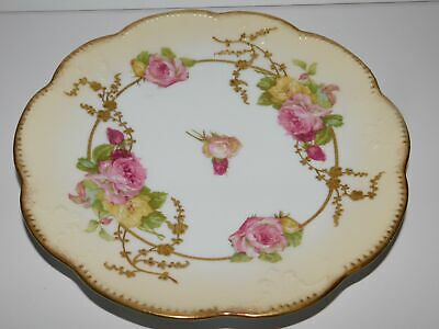 """Old Limoges France Ak Cd 9 1/2"""" Cabinet Plates Colorful Roses With Gold Accents"""