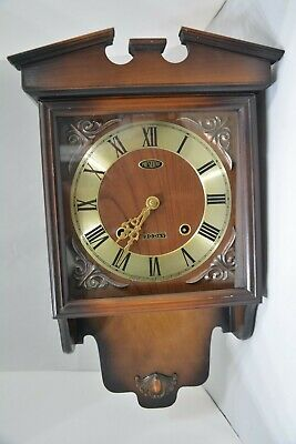 PRESIDENT Wooden Brown Wall Clock Strike & Pendulum Movement 30 day