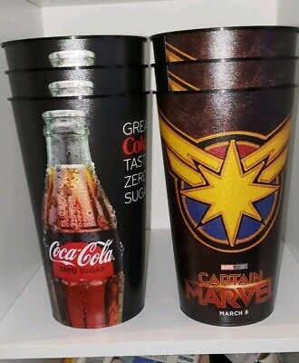 Lot of 6 Captain Marvel 44oz Plastic Theater Cup Brand New 2019 coca cola