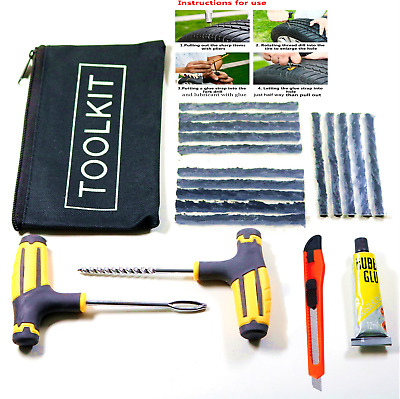 Emergency Car Van Motorcycle Tubeless Tyre Tire Puncture Repair Kit Tool Strips