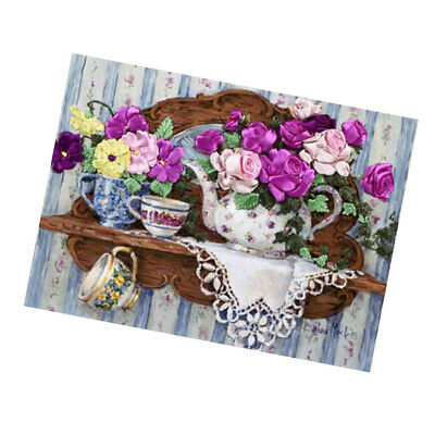 DIY Cross Stitch Kit Ribbon Embroidery Flowers Handcraft Art Home Wall Decor