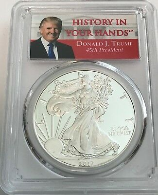 2017-S TRUMP PCGS PR70 PROOF Silver Eagle FIRST DAY ISSUE Congratulation Set