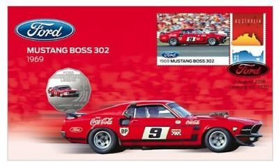 Australia  2018 Ford 50c Coin - PNC Stamp & Coin Cover - 1969 Mustang Boss 302
