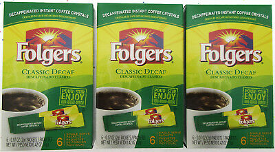 Folgers Instant Coffee ~ 6 Single Packets ~ Classic DECAF ~ Lot of 3