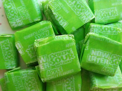 Now and Later Extreme Sour APPLE Soft Chews Fruit Candy ~ 16oz