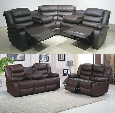 ROMA L SHAPE Corner Or 3+2 Seater Sofa Real Brown Leather With Cup Holder
