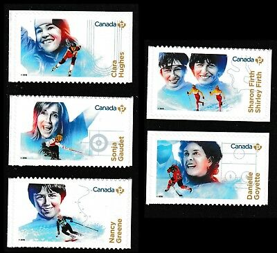 Canada 3080-3084 Women in Winter Sports 'P' set (from booklet of 10) MNH 2018