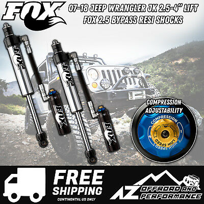 "Fox 2.5 Factory Series Front Bypass Resi Shocks w/ DSC 07-18 Jeep JK 2.5"" - 4"""