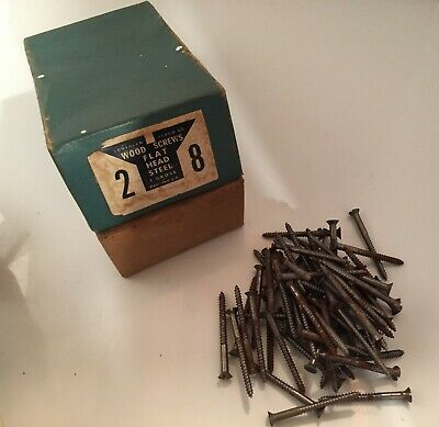 63pcs VTG Hardware FLAT HEAD STEEL WOOD SCREWS Lot Southern Co Advertising Box