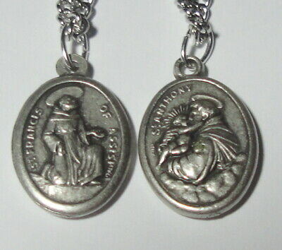 Brand New Vintage-Look St Francis of Assisi & St Anthony Holy Medal on Chain