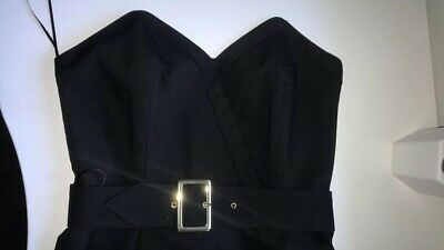 Black Jumpsuit, Belt With Gold Buckle, Strapless, Size 8, River Island