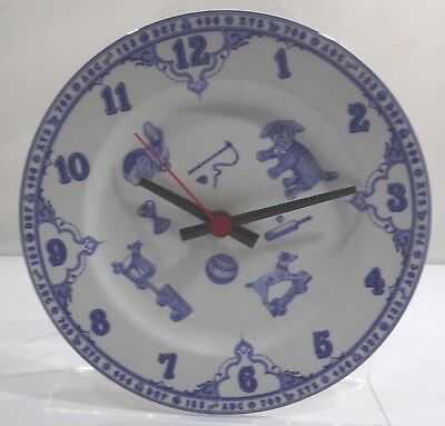 Spode Blue & White Edwardian Childhood Ceramic Plate Wall Clock