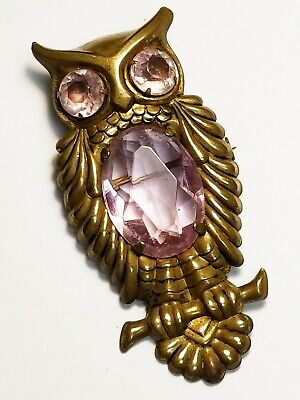 """Early Large Vintage / Antique Brass & Pink Lucite Bird OWL Pin Brooch 2 3/4"""""""