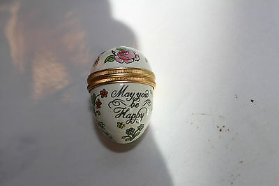 "Halcyon Days Bilston Battersea small enamel egg box ""May You Be Happy"", ExC"