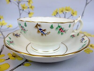 Very pretty antique / Victorian hand painted Devenport china TEA CUP. c 1860