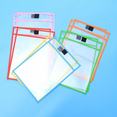 10x Dry Erase Pocket Sleeves Kids Students Write & Wipe Pockets Paper Saver Tool