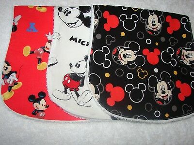 Set of 3 Burp Cloths Black White & Red Mickey Mouse Handmade