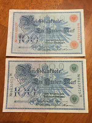 2 X German 1000 mark banknotes 1910 circulated RED AND GREEN MARK