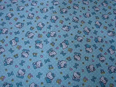 Flannelette Fitted Blue Hello Kitty Cot Sheet Handmade