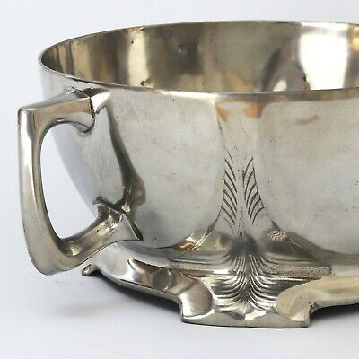 Large Jugendstil Footed Pewter Bowl With Twin Handles c1910