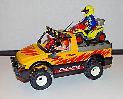Playmobil - Ref 4228 4*4 Pickup + Quad Fonctionnel + 2 Personnages Equipes