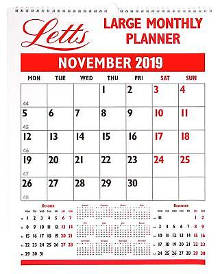 2019 Wall Planner Month to View Calendar Large Business Letts Monthly 19-TLMP