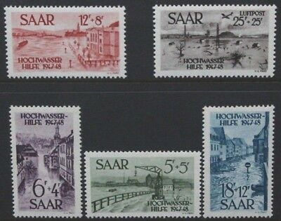 GERMANY SAAR 1948 Flood Disaster Relief Fund. Set of 5. MNH. SG252/256.