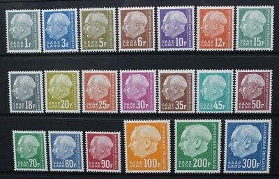 GERMANY SAAR LAND 1957 President Heuss REDRAWN. Set of 20. MNH. SG406/425.