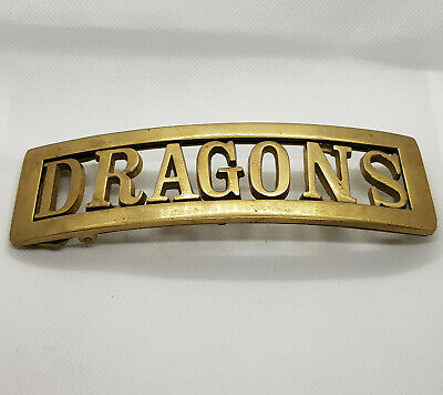 Large Vintage Solid Brass 'Dragons' Belt Buckle