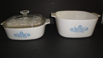 2 Corning Ware Bowls Blue Cornflower A-2-B 2 Qt and A-3-B 3 Liter with Glass Lid