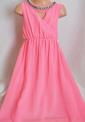 Girls Neon Pink Jewel Necklace Trim Grecian Chiffon Full Length Maxi Party Dress
