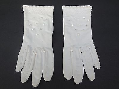 **Vintage Designer Ladies Cream Nylon Beaded Gloves Unlined Size 6.5-7
