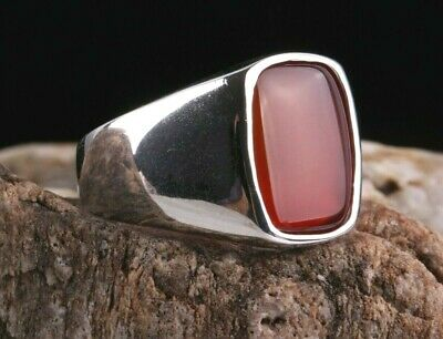 Turkish Jewelry 925 Sterling Silver Red Agate Aqeeq Mens  Ring ALL SİZE us 181