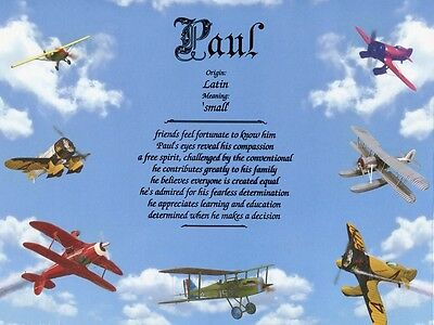 Airplanes Themed Name Meaning Prints Personalized (Child, Boy's Room)