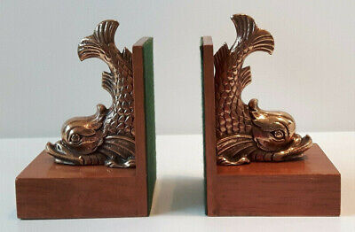 VINTAGE PAIR of MARITIME DOLPHIN BOOKENDS ~ SOLID BRASS & OAK ~ NAUTICAL THEME