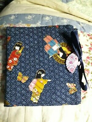 Quilted Handmade Needle Book Japanese Geisha navy Blue Fabric fan button