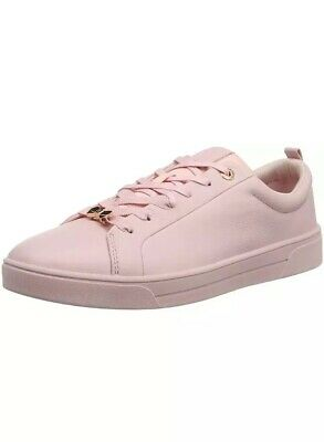 d38a0c8c5 TED BAKER GIELLI Womens Lace Up Tennis Trainers Silver   Pink Size 6 ...