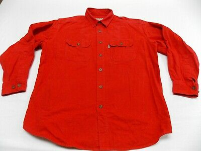 d8dec9babdc VINTAGE WOOLRICH CHAMOIS CLOTH Button Up Shirt ORANGE MADE IN USA ...