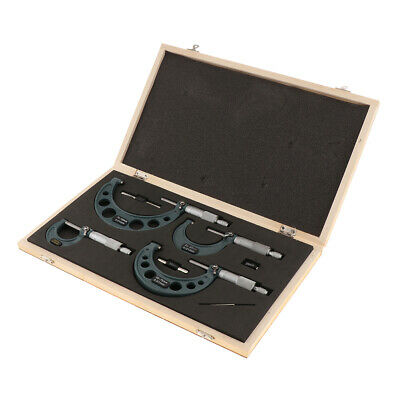 4 Pieces Accurate Outside Micrometer Gauge Set 0-25, 25-50, 50-75, 75-100mm