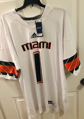 Adidas Miami Hurricanes NCAA Football Jersey  1 Mens Size 2XL White NWT   85.00 4e372584d