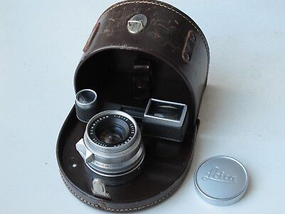 Leica M 35mm f:2 RF Summicron 8 element lens with cap/half moon leather case