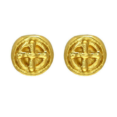 ACROSS THE PUDDLE 24k Gold Plated Pre-Columbian Small Carved Coin Stud Earrings