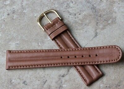 Ridged centers 20mm Genuine Leather vintage watch strap Waterproof new old stock