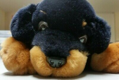 Keel Toys Rottweiler Puppy Dog Silky Soft Toy Black Fur Brown Eyebrows 10 Long