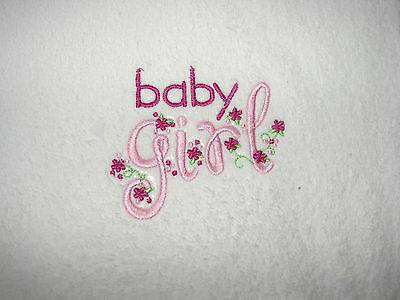 White Towelling Handmade Embroidered Baby Girl Burp Cloth