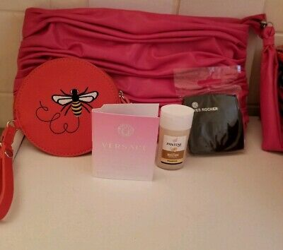 Versace Bright Crystal edt sample Coin Purse Makeup Bag 2 sided Mirror Set  New c21d6aaa79bc1