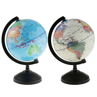 Rotating World Globe Earth Ocean Atlas Map Student Geography Learn Kit 2-set