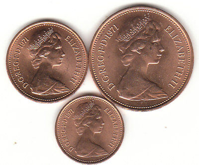 2P 1P ½P All 1971  One Two Half Pence Coin's Mint Roll's