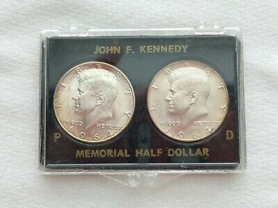 1964 P & D Kennedy Has Dollars BU/MS 2-Silver Coin Set TONING