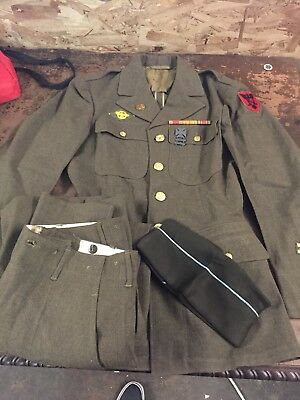 WWII Full Army Dress Uniform Pants Hat Jacket With Patches 86th Infantry 252358e6521